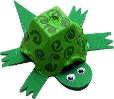 Turtle out of egg carton for Amphibian and Reptile theme