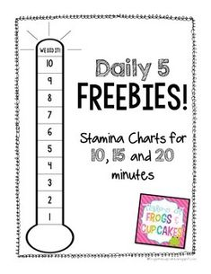 Need a chart to track stamina for Daily 5? Search no more! Use one of these charts to track stamina for 10, 15 and 20 minutes.Disclaimer: The Daily 5 & CAFE resources are unofficial adaptations of the Daily 5 by Gail Boushey & Joan Moser. This freebie is not endorsed by the 2 Sisters.