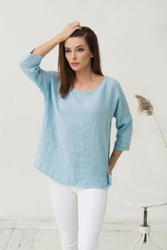 Loose fit linen top in light blue colour. Summer clothing. Women's top. Oversized linen tunic. Stone washed flax shirt.