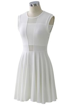 white skater dress with cutouts