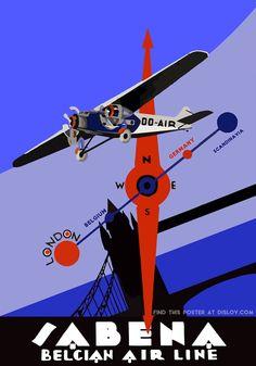DISLOV SABENA BELGIUM AIR LINE | Restored Vintage to Modern Art Poster – Dislov Art is My Religion