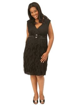 Plus Size Empire Ruffle Dress (Black,20 W) - A fun and flirty sleeveless short dress with a ruffled skirt and a matte chiffon empire top. Includes an embellished waist buckle to flatter all straight, apple, pear, and full bust figures. Polye... - Wear to Work - Apparel - $119.99