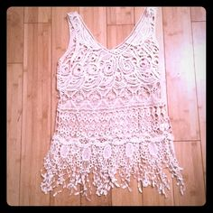 Crochet Tank Off white crochet tank, 100% cotton, hand wash only. Adorable for summer and the beach!! No visible defects. Lovely 153 Tops Tank Tops
