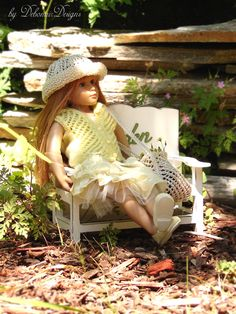 """Hand-knitted lace-stitched hoodie, hat and bag designed to fit 18"""" Kidz N' Cats dolls by Debonair Designs"""