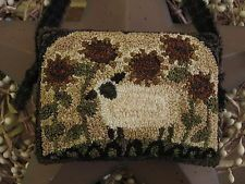 "Primitive Punch Needle ~""Sunflower Sheep"" ~ Folk Art ~ Cupboard Hanger ~ Pinkeep"