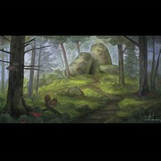 Hideout to some little folk of the forest. Bouldering, Drawing Ideas, Fantasy Art, Landscapes, Folk, Environment, Drawings, Artwork, Painting