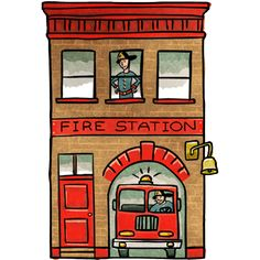 Fire station | Coloring pages | Clipart black, white, Art