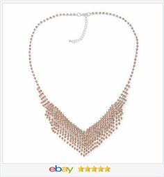 50% off #ebay http://stores.ebay.com/JEWELRY-AND-GIFTS-BY-ALICE-AND-ANN  Champagne Crystal Bib Fringe Necklace VALENTINES DAY