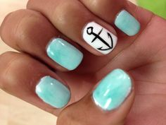 Cute nautical theme and I would add some cobalt or navy blue glitter to one of the nails~
