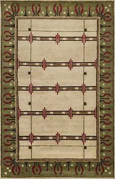Olive-Green-1006 -- Rich Craftsman rug with olive green, cranberry, teak. Handknotted elegance.