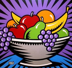 "The Art of Burton Morris Sept. The Art of Burton Morris"" exhibit: Art Lessons, Artist Painting, Camping Art, Art Painting, Roy Lichtenstein, Basket Drawing, Art, Art Movement, Pop Art Food"