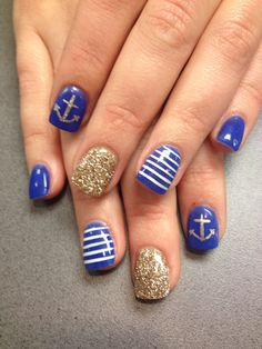 Nautical nails! The nail lounge