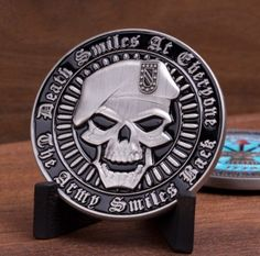 Death Smiles at Everyone.The Army Smiles Back Challenge Coin - topnotchloot Military Pins, Military Art, Assassin's Creed Statue, Back Challenge, Military Challenge Coins, Army Mom, Military Pictures, Coin Collecting, Tactical Gear