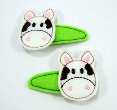 Haarspangen für Kinder,Kuh von 1001erdbeere auf DaWanda.com