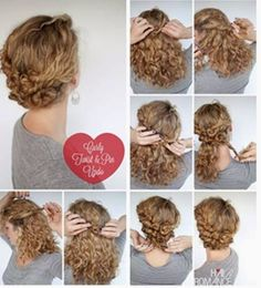Curly Hair Braids, Curly Hair Styles, Braided Hairstyles, Wedding Hairstyles, Hairdo Wedding, Curly Girl, Hair Dos, Bangs, Curls