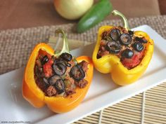 Paleo Stuffed Peppers - Our Paleo Life Paleo Recipes, Low Carb Recipes, Real Food Recipes, Cooking Recipes, Yummy Food, Yummy Eats, Paleo Stuffed Peppers, Paleo Life, Low Carb Lunch