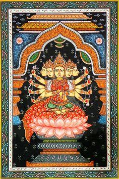 Gayatri (Orissa Paata Painting on Canvas - Unframed))