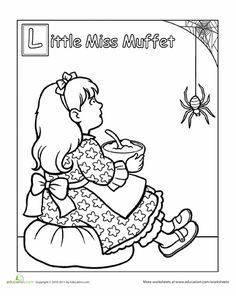 Worksheets: Little Miss Muffet Coloring Page