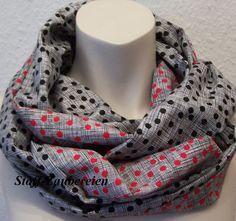 XXL Baumwoll Damen Schlauchschal Tuch Loop Scarf Punkte Striche Dots Handmade