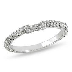 Miadora 14k White Gold /8ct TDW Diamond Curved Wedding Band