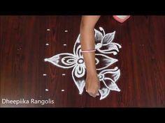 simple lotus flower rangoli design with 5*5 dots - friday kolam designs -chukkala muggulu - YouTube