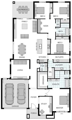 Highbury floorplan by jg king homes. i like the smaller, structured living room. good for tv/video games. family room for social stuff. New House Plans, Dream House Plans, House Floor Plans, My Dream Home, Home Design Plans, Plan Design, Building Design, Building A House, Kings Home