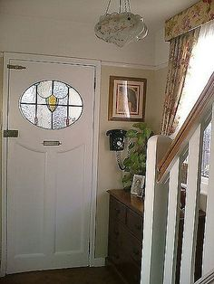 EDWARDIAN FRONT DOOR WOOD RECLAIMED WOOD OLD PERIOD STAINED GLASS LEADED 20s 30s & The Hardwick\