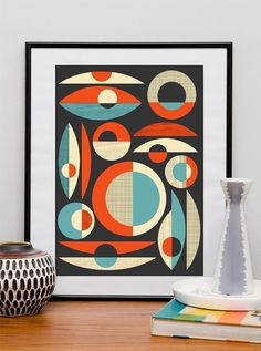 Geometric midcentury poster, abstract retro print, modernist wall art, 40x50cm  / 16x20in on Etsy, $39.00