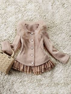 Pink Long Sleeve Ruffles Fur Embellished Coat