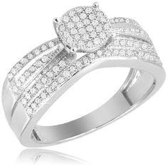 $49.99 - 1/3 Carat Diamond Sterling Silver Micro Pave Bridal Ring