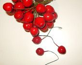 25 Vintage German Cherry Millinery Flower Fruit 1940's Spun Cotton Christmas Supplies. Etsy Treasury › Rethinking Red & Green > by Dianna Wood