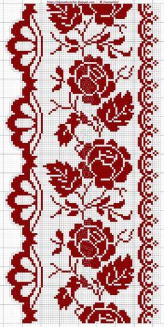 Cross Stitch Geometric, Cross Stitch Borders, Cross Stitch Rose, Cross Stitch Flowers, Cross Stitch Designs, Cross Stitching, Cross Stitch Embroidery, Crochet Applique Patterns Free, Diy Embroidery Patterns