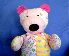 Quilted patchwork teddy bear by IntricateHandiwork on Etsy, $45.00 Handmade in America with care! Perfect for a one-of-a-kind gift!