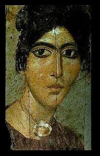 First Century BC to Third Century AD: Al Fayum Egyptian portrait from mummy case