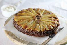 """Tender pears and brown sugar top a moist molasses spice cake in this Pear Gingerbread Upside Down Cake. Ahhhhh……gingerbread. It is on my list of """"Foods that Make the House Smell Amazing When They Are Cooking"""". The list also includes things like bread baking; chocolate chip cookies in the oven; bacon frying; and fresh-brewed coffee; plus a number of others. But gingerbread is definitely near the top of the list. Gingerbread is one of those things that come in a variety of forms. I like…"""