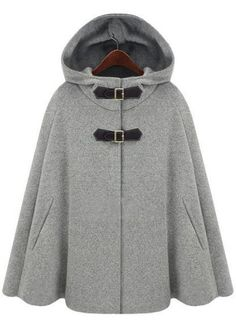 Grey Hoodie Two PU Buckle Woolen Poncho Coat