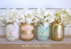 Baby Shower Centerpiece, Distressed Mason Jars, Polka Dots & Stripes, Baby Girl, Peach Mint and Gold, Wedding and Bridal, Rustic Table Decor by MyHeartByHand on Etsy