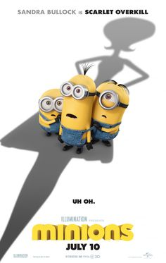 Minions movie trailer, cast, plot, and release date starring Sandra Bullock and Jon Hamm. A trio of Minions embark upon a journey that leads them to the world's first-ever female super-villain. Minions Trailer, Minions Film, Minions 2, Minion 2015, Minion Movie, Minions Quotes, Minions Images, Funny Minion, 2015 Movies