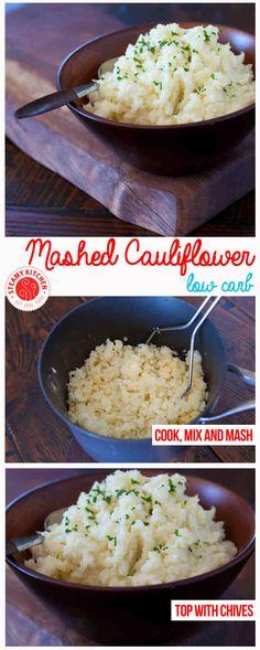 Cauliflower Mashed 1 head of cauliflower 3 tablespoons milk 1 tablespoon butter 2 tablespoons light sour cream 1/4 teaspoon garlic salt freshly ground black pepper