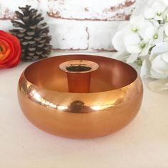 Vintage Copper Candlestick Candle holder bowl Round Retro modern centerpiece Christmas wedding sleek bright coppercraft guild by WonderCabinetArts