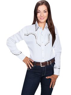 Scully Studded Western Shirt White AT COWGIRL BLONDIE'S WESTERN BOUTIQUE