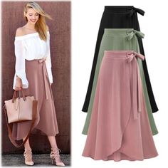 Women Plain High Waist Skirt Front Split Long Skirt Bow Knot Ladies Maxi Skirt