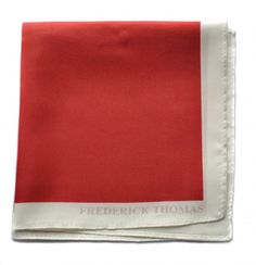red silk pocket square with white edging