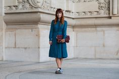 At Paris Fashion Week by The Locals' Soren Jepsen - wearing Tory Burch dress, Stella McCartney bag and Nike shoes