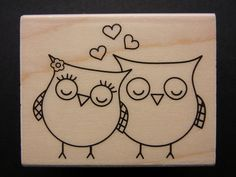 HEART OWLS  Hero Arts Rubber Stamp by fernwoodcottage on Etsy