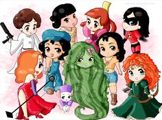 Princess Leia (Star Wars) Nakoma (Pocahontas) Anastasia (Cinderella) Violet (The Incredibles) Jessica Rabbit (Who Framed Roger Rabbit) Audrey (Atlantis: The Lost World) Miss Bianca (The Rescuers) Mother Nature (Fantasia 2000) Nani (Lilo and Stitch) Merida (Brave)