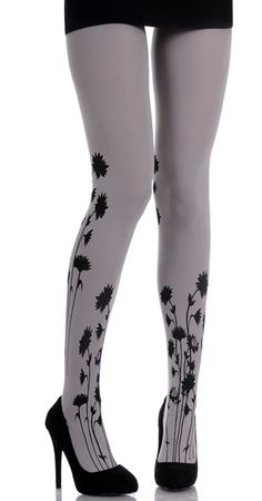 These Zohara designer tights celebrate femininity and fashion with a unique black flowers print in black with a classic light grey tights. A great way to keep your look trendy, fun and original, upgrading any wardrobe. Cool Tights, Grey Tights, Opaque Tights, Funky Tights, Floral Tights, Patterned Tights, Designer Tights, Heart Tights, Pantyhosed Legs