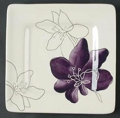 Laurie Gates - Laurie Gates Anna-Plum Square Salad Plate - Purple Flowers On WhiteRimSquare & 222 Fifth Adele 16-Piece Dinnerware Set. I really like these ...