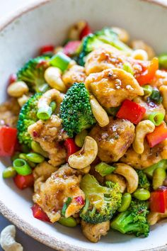 Better-Than-Takeout Cashew Chicken - Juicy chicken, crisp-tender vegetables, and crunchy cashews coated with the best garlicky soy sauce! Skip takeout and make your own restaurant-quality meal that& easy, ready in 20 minutes, and healthier! Chicken Cashew Stir Fry, Sauce For Chicken, Chicken Recipes, Peanut Chicken, Lemon Chicken, Asian Recipes, Healthy Recipes, Cashew Recipes, Delicious Recipes