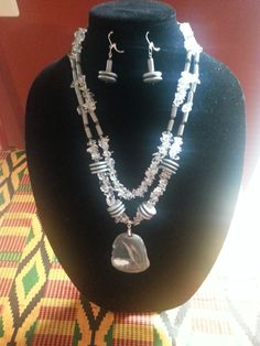 Gray and Ice Multi-strand Two Piece Set with Pendant